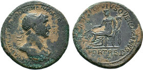 TRAJAN. 114-117. Rome. FORTRED in exergu and SENATVS POPVLVSQVE ROMANVS. Fortune sitting to the left with rudder and cornucopia. CyS59. C.158. MyS.652...