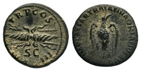 Hadrian, 117-138. Quadrans. Rome, 121-122. IMP CAESAR TRAIAN HADRIANVS AVG Eagle, with spread wings, standing right, his head turned to left. Rev. P M...