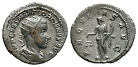 GORDIAN III. 238-244 AD. AR Denarius. IMP GORDIANVS PIVS FEL AVG, laureate, draped and cuirassed bust right, seen from behind / A-EQVITAS AVG, Aequita...