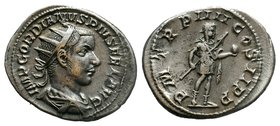 Gordian III AR Antoninianus. Rome, AD 241-243. IMP GORDIANVS PIVS FEL AVG, radiate, draped and cuirassed bust of Gordian III to right / P M TR P V COS...