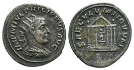 Philip II, as Caesar, AR Antoninianus. Antioch, AD 247-248. IMP M IVL PHILIPPVS AVG, radiate, draped, and cuirassed bust right, seen from behind / SAE...