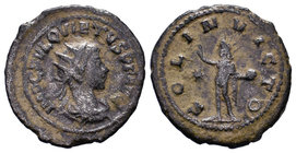QUIETUS. 260-261 AD. Antoninianus. Antioch mint. Radiate, draped, and cuirassed bust right / Sol standing left, raising hand and holding globe; star i...