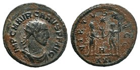 Carus; 282-283 AD, Antioch, Antoninianus, RIC-125, officina H=8; C-117. Rx: VIRTVS AV - GGG Two emperors standing, the one on the r. holding long scep...