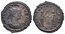 Tacitus BI Radiate. Antioch, AD 276. IMP C M CL TACITVS AVG, radiate, draped and cuirassed bust right, with paludamentum / CLEMENTIA TEMP, emperor sta...
