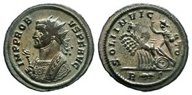 Probus BI Radiate. Rome, AD 276-282. PROBVS P F AVG, radiate bust left, wearing imperial mantle and holding sceptre surmounted by eagle / SOLI INVICTO...