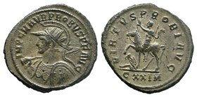 PROBUS (276-282). Antoninianus. Cyzicus. Obv: IMP C M AVR PROBVS P F AVG. Radiate, helmeted and cuirassed bust left, holding spear and shield decorate...