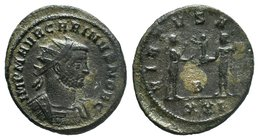 Carinus, as Caesar, 282-283. Antoninianus, Siscia. IMP M AVR CARINVS NOB C Radiate and cuirassed bust of Carinus to right, seen from behind. Rev. VIRT...