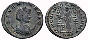 Severina. AD. 270-275. Æ Antonininaus. Siscia mint. SEVERINAE AVG. Diademed and draped bust right on crescent / CONCORDIA MILITVM/ XXI. Concordia stan...