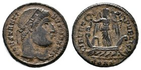 Constantine I Æ Nummus. Constantinople, AD 327. CONSTANTINVS MAX AVG, laureate head right / LIBERTAS PVBLICA, Victory standing facing on galley, head ...