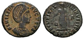 Helena Æ Follis. Antioch, AD 327-328. FL HELENA AVGVSTA, diademed and mantled bust right, wearing necklace / SECVRITAS REIPVBLICE, Securitas standing ...