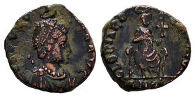 Aelia Eudoxia. Augusta, A.D. 400-404. AE4 reduced centenionalis. Antioch mint, struck A.D. 400-402. [AEL EVDO]-XIA AVG, diademed and draped bust of Eu...