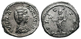 Julia Domna. Augusta, AD 193-217. AR Denarius, / Felicitas standing left, holding caduceus and scepter. RIC IV 551  Condition: Very Fine  Weight: 3.86...
