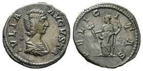 Julia Domna. Augusta, AD 193-217. AR Denarius, / Felicitas standing left, holding spear.  Condition: Very Fine  Weight: 2.90gr Diameter: 16.12mm  From...