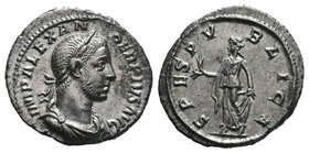 SEVERUS ALEXANDER. 222-235 AD. AR Denarius, IMP ALEXANDER PIVS AVG, laureate, draped, and cuirassed bust right / SPES PVBLICA, Spes walking left, hold...