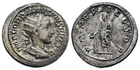 Gordian III AR Antoninianus. AD 240. P M TR P II COS P P, Emperor, togate and veiled, standing facing, head left, sacrificing out of patera in right h...