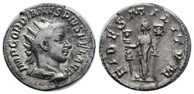 Gordian III AR Antoninianus. AD 238-239. FIDES MILITVM, Fides standing left, holding standards. RIC 209b.