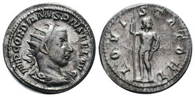 Gordian III AR Antoninianus. AD 238-239. Jupiter standing l., head r., holding sceptre and thunderbolt. RIC 112;   Condition: Very Fine  Weight: 3.97g...