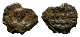 Narses. Lead Byzantine seal (bulla) 12th century AD, Nimbate bust of Saint Theodore facing, holding spear and shield; to left: O/Θ/E/O; to right: Δ/W/...