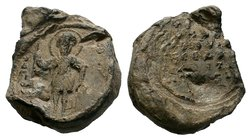 BYZANTINE LEAD SEALS. Uncertain (Circa 9th -13th century).  Obv: Standing Figure of Christ. Rev: Legend in 6 lines.  Condition: Very Fine  Weight: 19....