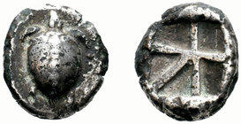 "Islands off Attica. Aegina. Circa 480-457 BC. Stater (Silver, 23.30 mm, 12.00 g), ""Large skew"" reverse. Sea turtle with line of five large pellets dow..."