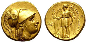 KINGS of MACEDON. Alexander III.the Great. 336-323 BC. AV Stater. Lampsakos mint. Struck under Kalas or Demarchos, circa 328/5-323 BC. Helmeted head o...
