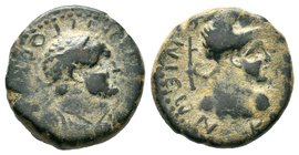 LYCAONIA. Iconium. Titus, as Caesar, 69-79. Assarion Obverse: Laureate and cuirassed bust of Titus to right. ΑΥΤΟΚΡΑΤΩΡ - ΤΙΤΟΣ ΚΑΙΣΑΡ Reverse: Bust o...