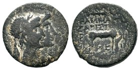 Augustus and Livia Ephesus. Stag Condition: Very Fine  Weight: 4.16gr Diameter:18mm