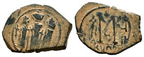ARAB-BYZANTINE: Three Standing Figures, ca. 640s, AE fals  Condition: Very Fine  Weight: 6.26 gr Diameter: 30 mm