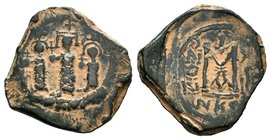 ARAB-BYZANTINE: Three Standing Figures, ca. 640s, AE fals  Condition: Very Fine  Weight: 7.40 gr Diameter: 28 mm