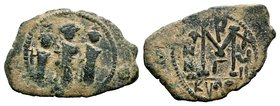ARAB-BYZANTINE: Three Standing Figures, ca. 640s, AE fals  Condition: Very Fine  Weight: 5.16 gr Diameter: 30.39 mm