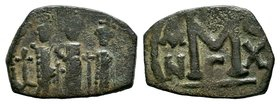 ARAB-BYZANTINE: Three Standing Figures, ca. 640s, AE fals  Condition: Very Fine  Weight: 2.65 gr Diameter: 23 mm