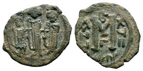 ARAB-BYZANTINE: Three Standing Figures, ca. 640s, AE fals  Condition: Very Fine  Weight: 4.77 gr Diameter: 26 mm