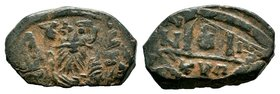 ARAB-BYZANTINE: Bust of Emperor, ca. 640s, AE fals  Condition: Very Fine  Weight: 5.21 gr Diameter: 25 mm