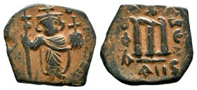 ARAB-BYZANTINE: Three Standing Figures, ca. 640s, AE fals  Condition: Very Fine  Weight: 4.49 gr Diameter: 24.59 mm