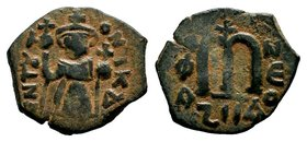 ARAB-BYZANTINE: Three Standing Figures, ca. 640s, AE fals  Condition: Very Fine  Weight: 3.79 gr Diameter: 23 mm