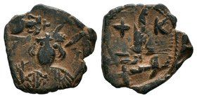 ARAB-BYZANTINE: Three Standing Figures, ca. 640s, AE fals  Condition: Very Fine  Weight: 4.39 gr Diameter:22 mm