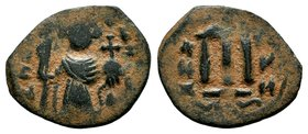 ARAB-BYZANTINE: Three Standing Figures, ca. 640s, AE fals  Condition: Very Fine  Weight: 3.13 gr Diameter: 23 mm