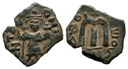 ARAB-BYZANTINE: Three Standing Figures, ca. 640s, AE fals  Condition: Very Fine  Weight: 3.59 gr Diameter: 24 mm