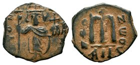 ARAB-BYZANTINE: Three Standing Figures, ca. 640s, AE fals  Condition: Very Fine  Weight: 4.14 gr Diameter: 22 mm