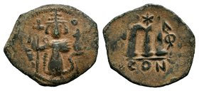 ARAB-BYZANTINE: Three Standing Figures, ca. 640s, AE fals  Condition: Very Fine  Weight: 2.39 gr Diameter: 24 mm
