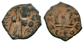 ARAB-BYZANTINE: Three Standing Figures, ca. 640s, AE fals  Condition: Very Fine  Weight: 3.44 gr Diameter: 20 mm