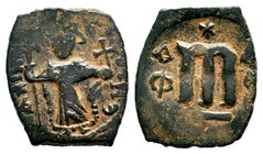 ARAB-BYZANTINE: Three Standing Figures, ca. 640s, AE fals  Condition: Very Fine  Weight: 4.25 gr Diameter: 21.41 mm