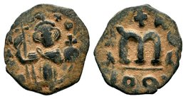 ARAB-BYZANTINE: Three Standing Figures, ca. 640s, AE fals  Condition: Very Fine  Weight: 3.71 gr Diameter:21.55 mm