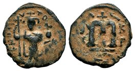 ARAB-BYZANTINE: Three Standing Figures, ca. 640s, AE fals  Condition: Very Fine  Weight: 3.26 gr Diameter: 23 mm