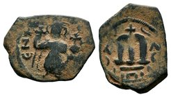 ARAB-BYZANTINE: Three Standing Figures, ca. 640s, AE fals  Condition: Very Fine  Weight: 3.88 gr Diameter: 24 mm