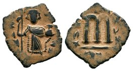 ARAB-BYZANTINE: Three Standing Figures, ca. 640s, AE fals  Condition: Very Fine  Weight: 3.63 gr Diameter: 21 mm