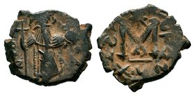 ARAB-BYZANTINE: Three Standing Figures, ca. 640s, AE fals  Condition: Very Fine  Weight: 2.98 gr Diameter: 19 mm