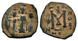 ARAB-BYZANTINE: Three Standing Figures, ca. 640s, AE fals  Condition: Very Fine  Weight: 3.54 gr Diameter: 23 mm