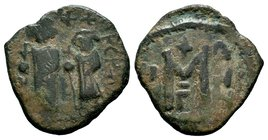 ARAB-BYZANTINE: Three Standing Figures, ca. 640s, AE fals  Condition: Very Fine  Weight: 6.27 gr Diameter: 26.53 mm