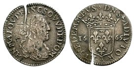 France, Dombes. Anne-Marie-Louise d'Orléans. AR 5 Sols 1668  Condition: Very Fine  Weight: 1.77 gr Diameter: 21 mm